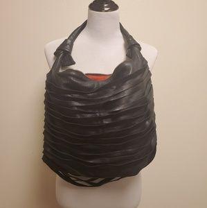 Posse Black Leather Fringe Strappy Hobo Bag